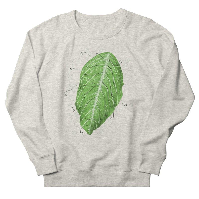 Swirly Green Leaf Whimsical Botanical Art Women's French Terry Sweatshirt by Boriana's Artist Shop