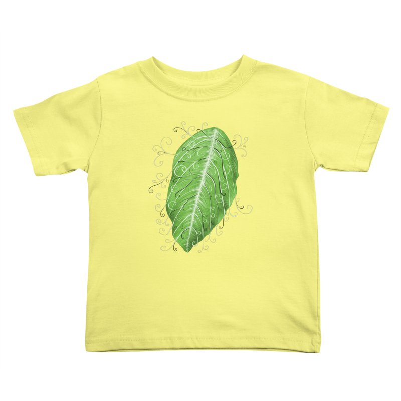 Swirly Green Leaf Whimsical Botanical Art Kids Toddler T-Shirt by Boriana's Artist Shop