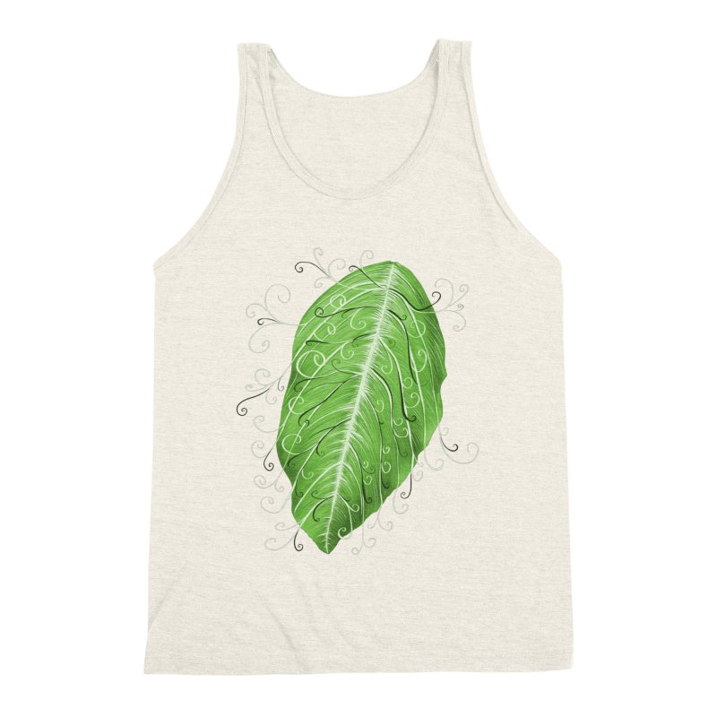 Swirly Green Leaf Whimsical Botanical Art Men's Triblend Tank by Boriana's Artist Shop