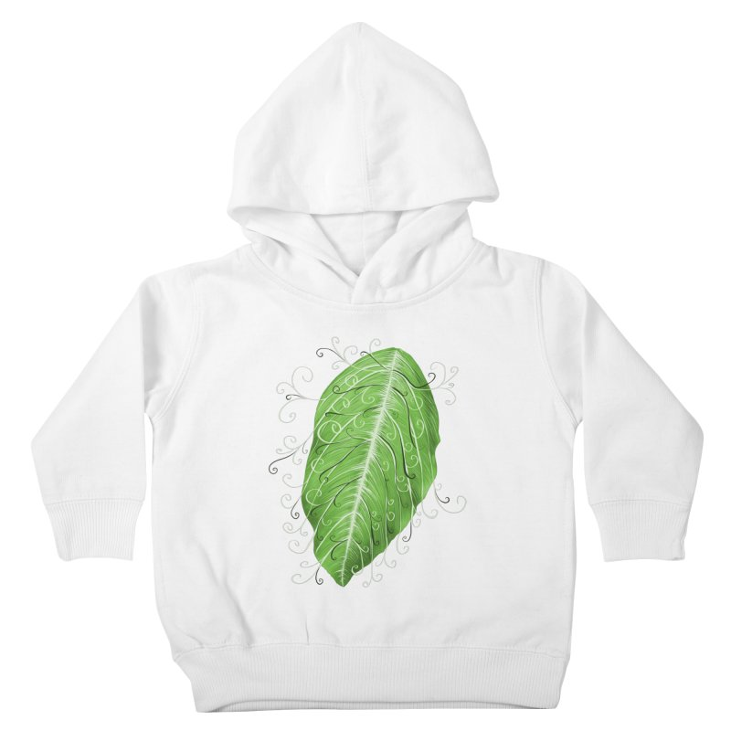 Swirly Green Leaf Whimsical Botanical Art Kids Toddler Pullover Hoody by Boriana's Artist Shop