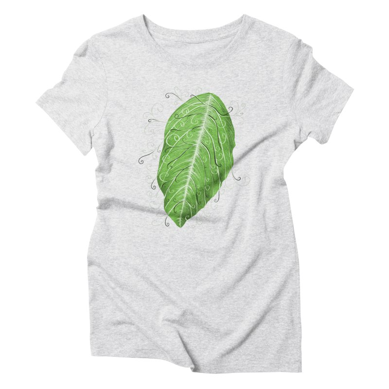 Swirly Green Leaf Whimsical Botanical Art Women's Triblend T-Shirt by Boriana's Artist Shop