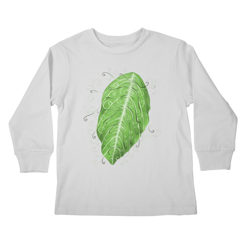 Swirly Green Leaf Whimsical Botanical Art Kids Longsleeve T-Shirt by Boriana's Artist Shop