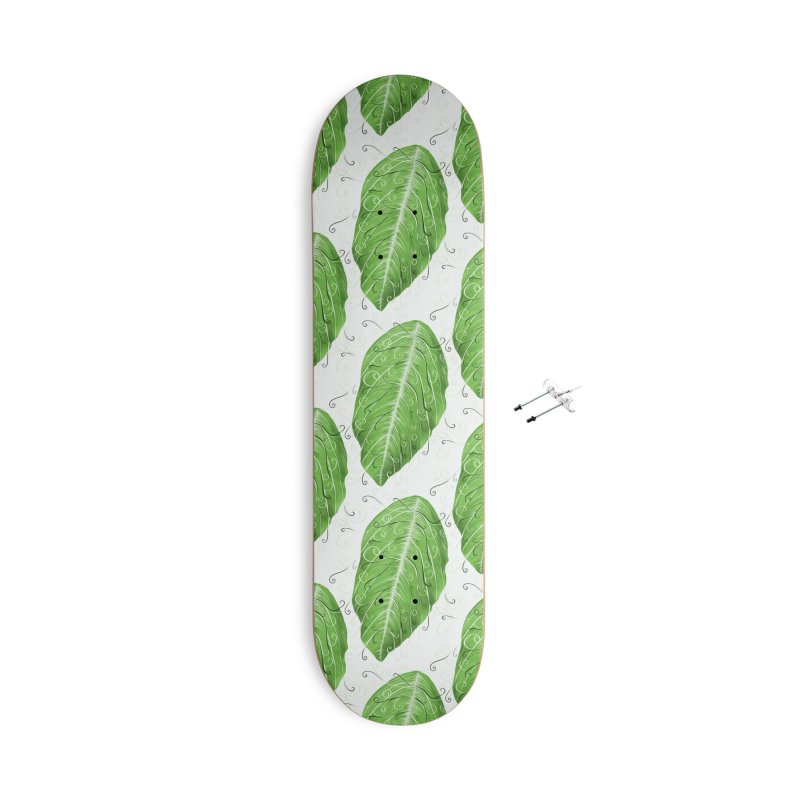 Swirly Green Leaf Whimsical Botanical Art Accessories With Hanging Hardware Skateboard by Boriana's Artist Shop