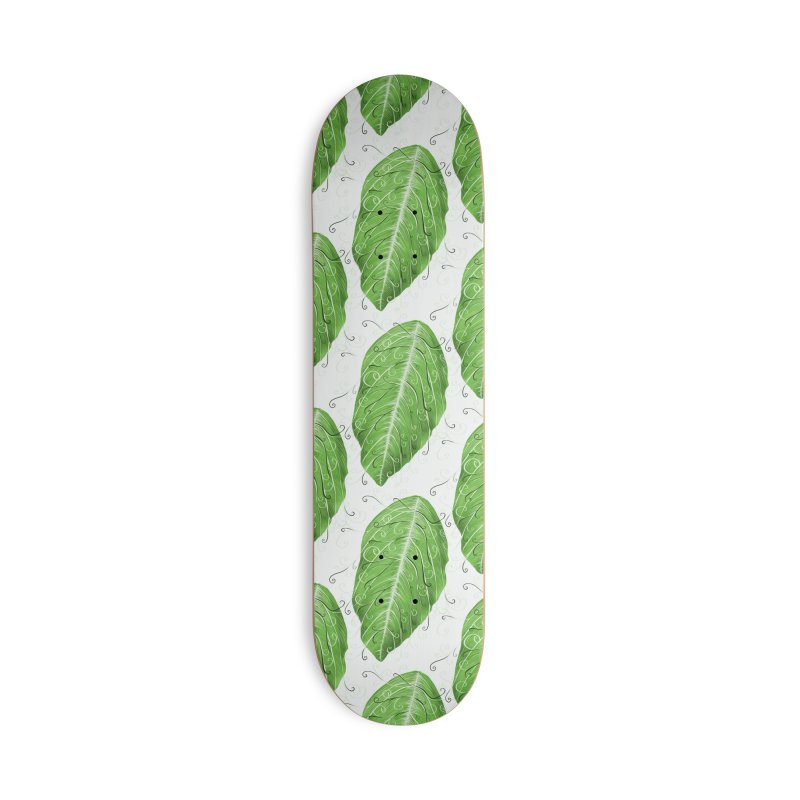 Swirly Green Leaf Whimsical Botanical Art Accessories Deck Only Skateboard by Boriana's Artist Shop