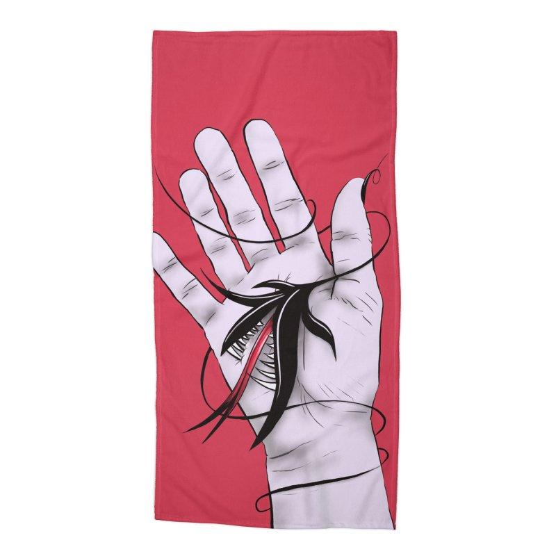 Creepy Gothic Hand Biting Flower Monster Weird Art Accessories Beach Towel by Boriana's Artist Shop