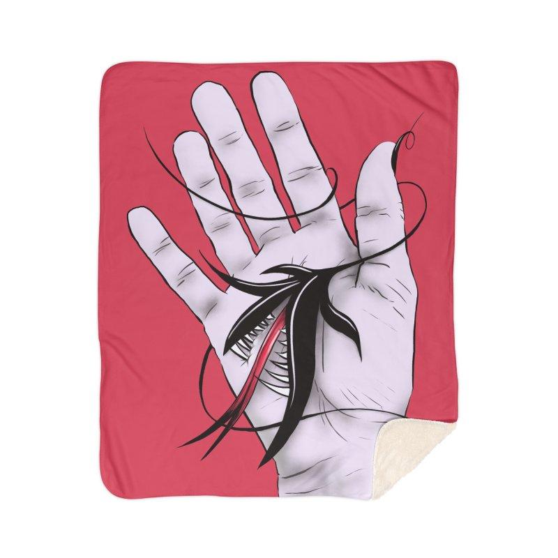 Creepy Gothic Hand Biting Flower Monster Weird Art Home Sherpa Blanket Blanket by Boriana's Artist Shop