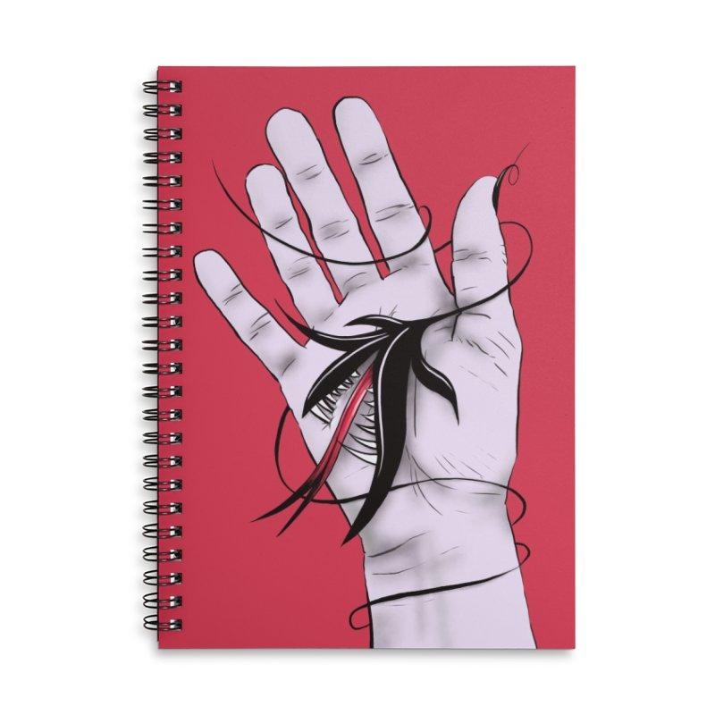 Creepy Gothic Hand Biting Flower Monster Weird Art Accessories Lined Spiral Notebook by Boriana's Artist Shop