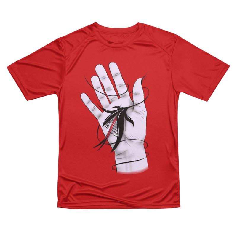 Creepy Gothic Hand Biting Flower Monster Weird Art Women's Performance Unisex T-Shirt by Boriana's Artist Shop