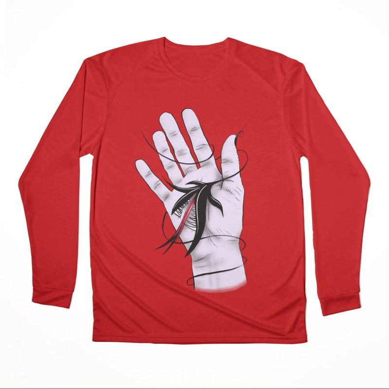 Creepy Gothic Hand Biting Flower Monster Weird Art Women's Performance Unisex Longsleeve T-Shirt by Boriana's Artist Shop