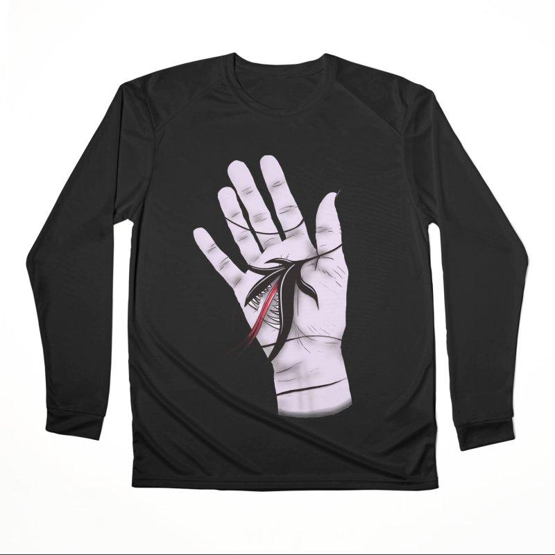 Creepy Gothic Hand Biting Flower Monster Weird Art Men's Performance Longsleeve T-Shirt by Boriana's Artist Shop