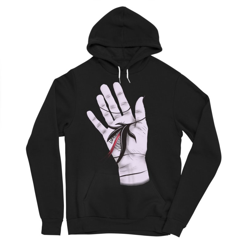 Creepy Gothic Hand Biting Flower Monster Weird Art Women's Sponge Fleece Pullover Hoody by Boriana's Artist Shop