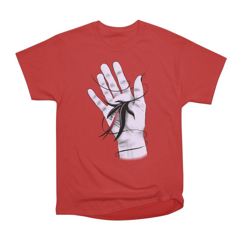 Creepy Gothic Hand Biting Flower Monster Weird Art Men's Heavyweight T-Shirt by Boriana's Artist Shop