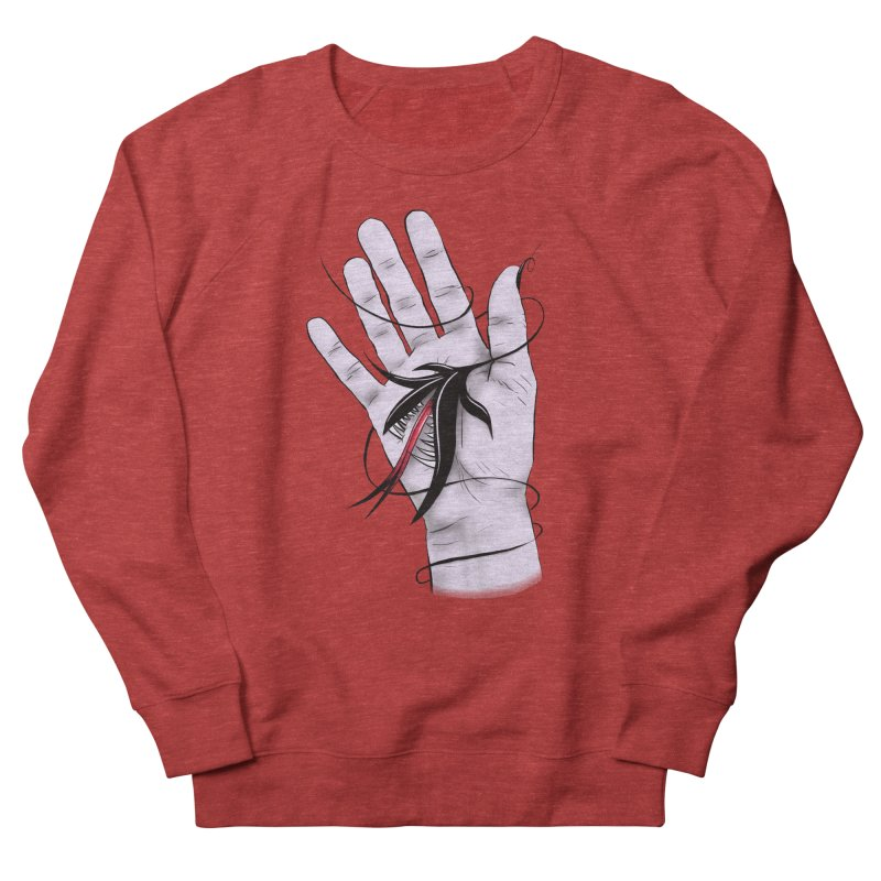 Creepy Gothic Hand Biting Flower Monster Weird Art Women's French Terry Sweatshirt by Boriana's Artist Shop