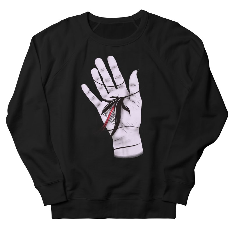 Creepy Gothic Hand Biting Flower Monster Weird Art Men's French Terry Sweatshirt by Boriana's Artist Shop