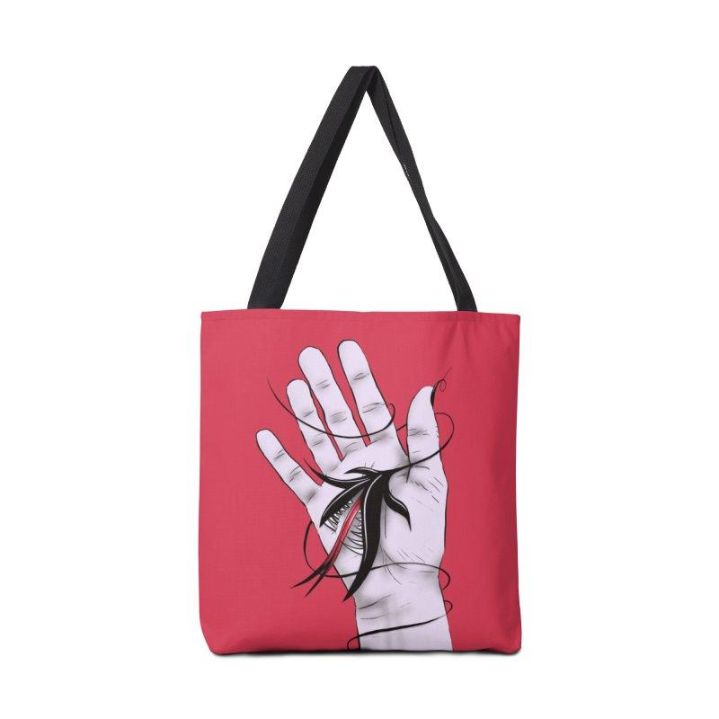 Creepy Gothic Hand Biting Flower Monster Weird Art Accessories Tote Bag Bag by Boriana's Artist Shop