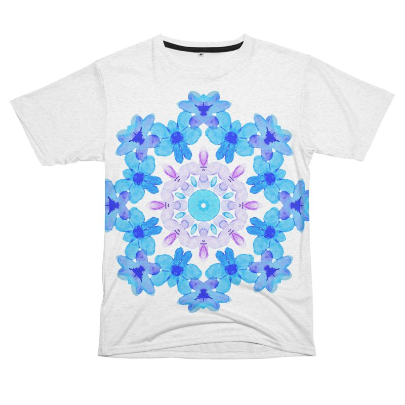 Flower Mandala Violet Blue Watercolor Floral Art Women's Unisex French Terry T-Shirt Cut & Sew by Boriana's Artist Shop