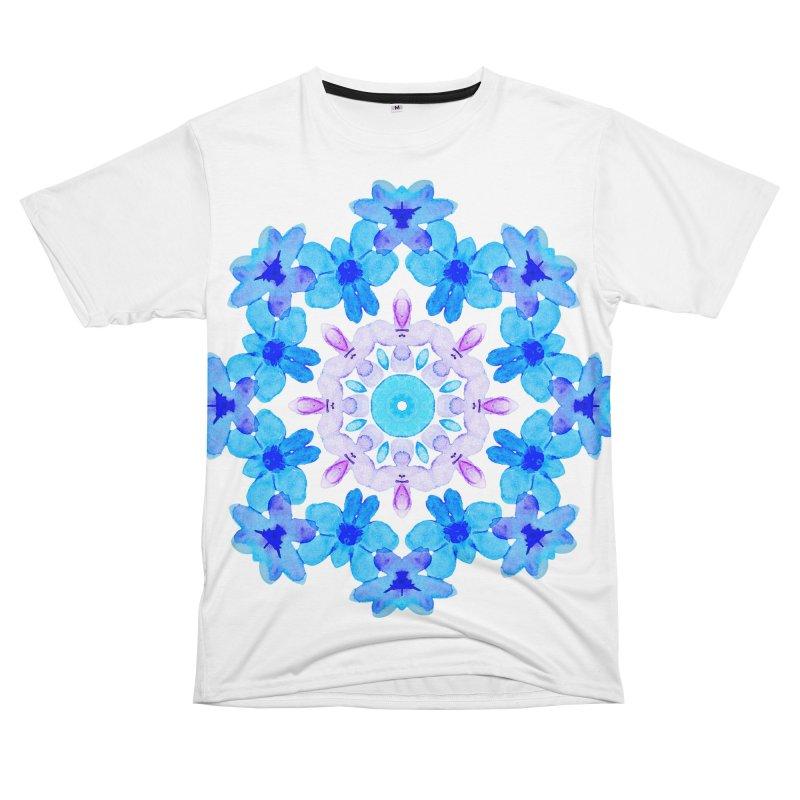 Flower Mandala Violet Blue Watercolor Floral Art Women's Unisex T-Shirt Cut & Sew by Boriana's Artist Shop