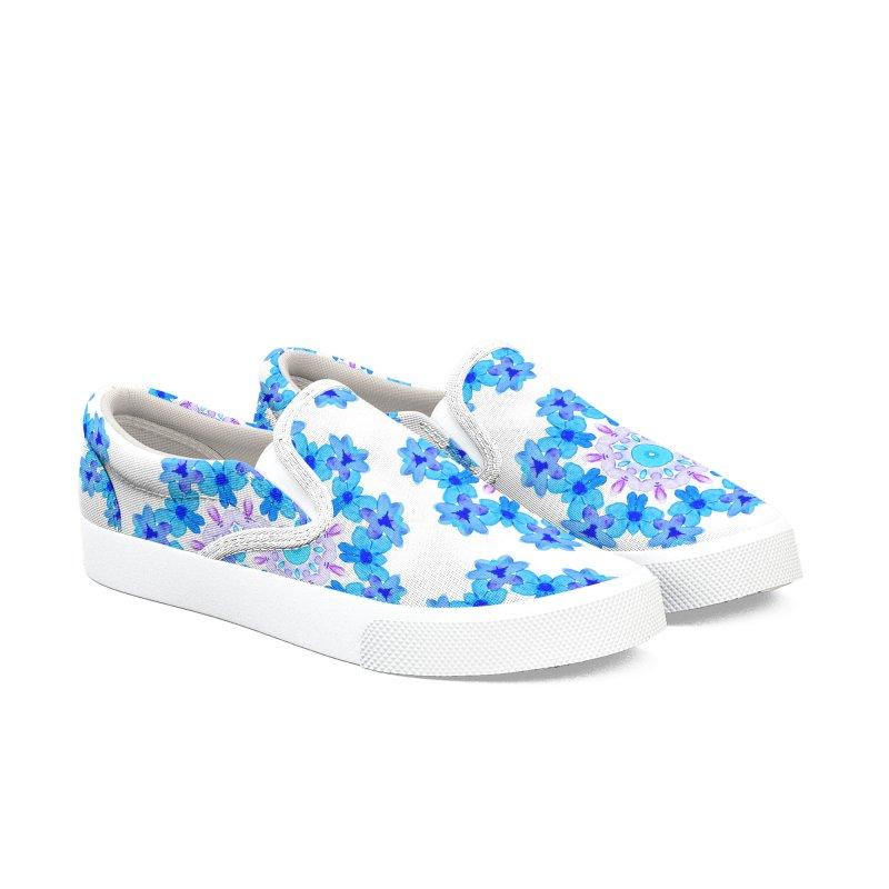 Flower Mandala Violet Blue Watercolor Floral Art Women's Slip-On Shoes by Boriana's Artist Shop