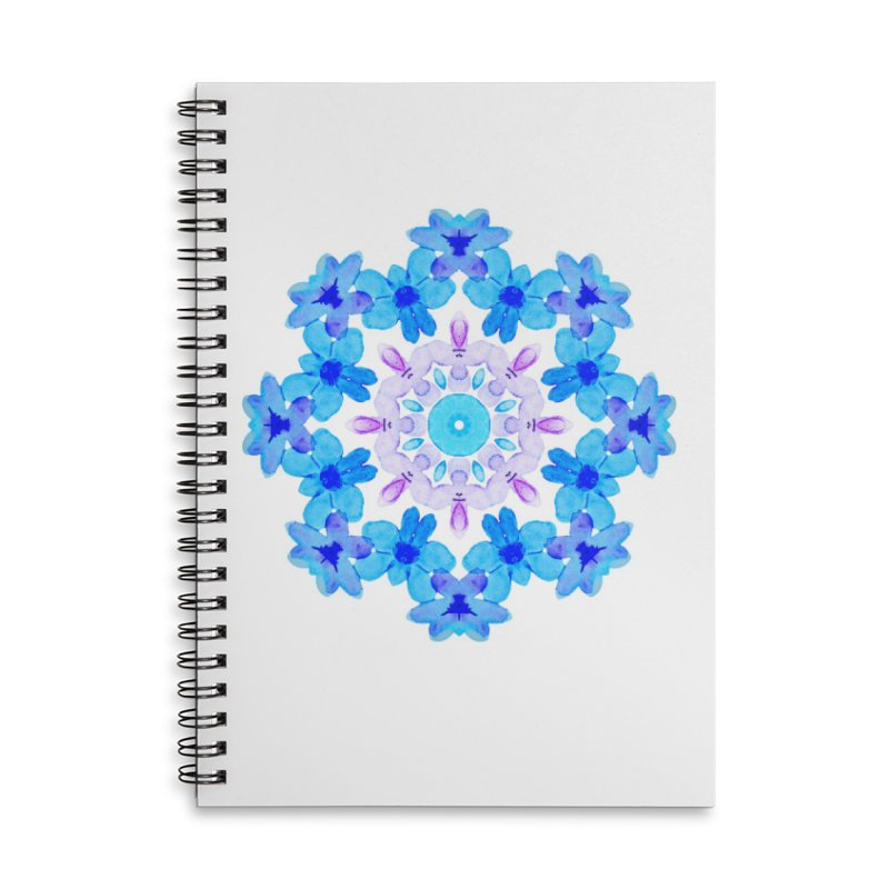 Flower Mandala Violet Blue Watercolor Floral Art Accessories Lined Spiral Notebook by Boriana's Artist Shop