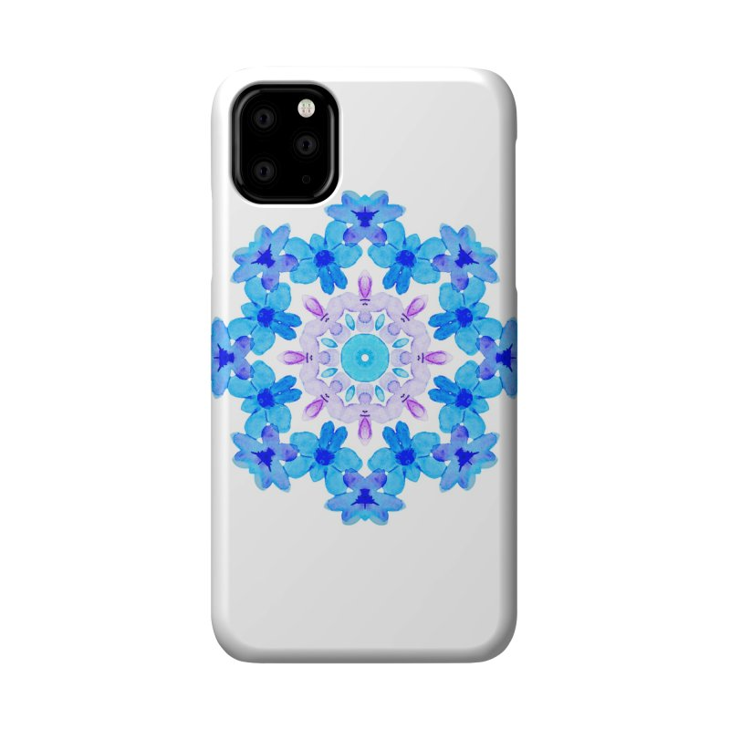 Flower Mandala Violet Blue Watercolor Floral Art Accessories Phone Case by Boriana's Artist Shop