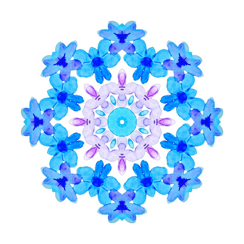 Flower Mandala Violet Blue Watercolor Floral Art by Boriana's Artist Shop