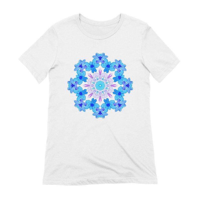 Flower Mandala Violet Blue Watercolor Floral Art Women's T-Shirt by Boriana's Artist Shop