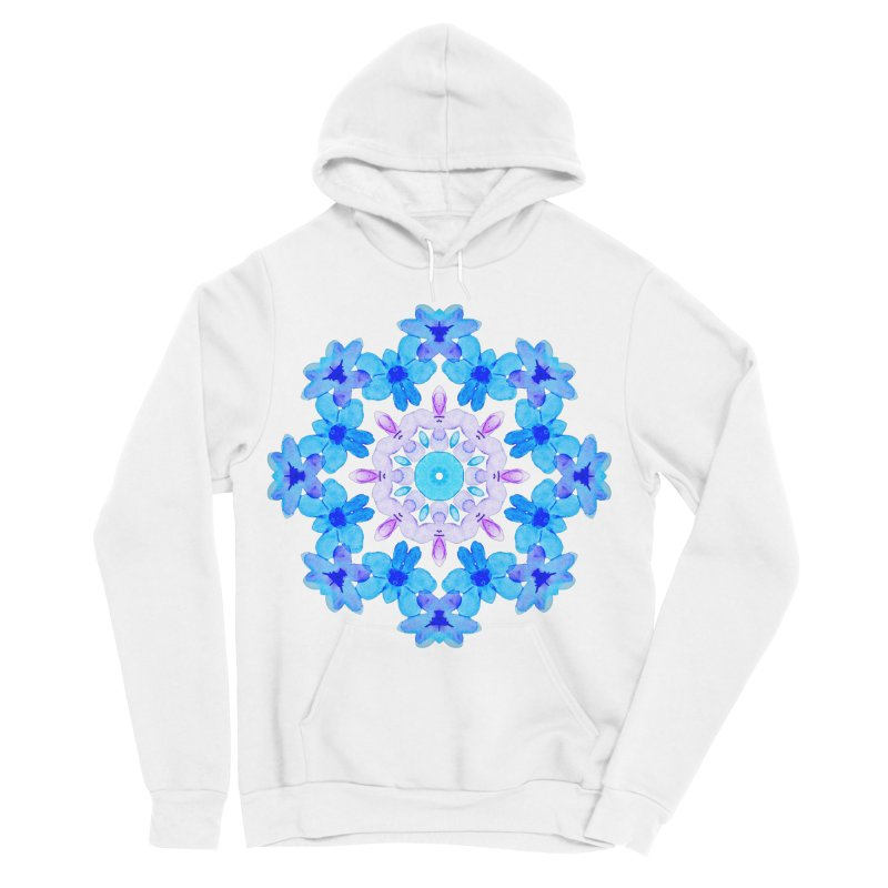 Flower Mandala Violet Blue Watercolor Floral Art Women's Sponge Fleece Pullover Hoody by Boriana's Artist Shop
