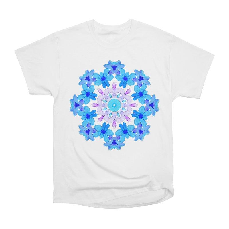 Flower Mandala Violet Blue Watercolor Floral Art Women's Heavyweight Unisex T-Shirt by Boriana's Artist Shop