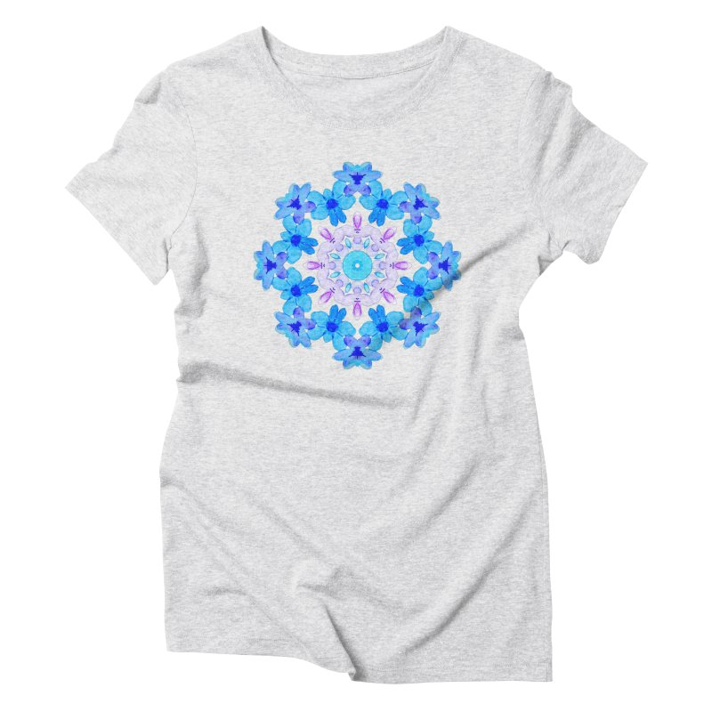 Flower Mandala Violet Blue Watercolor Floral Art Women's Triblend T-Shirt by Boriana's Artist Shop