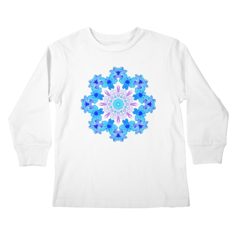Flower Mandala Violet Blue Watercolor Floral Art Kids Longsleeve T-Shirt by Boriana's Artist Shop