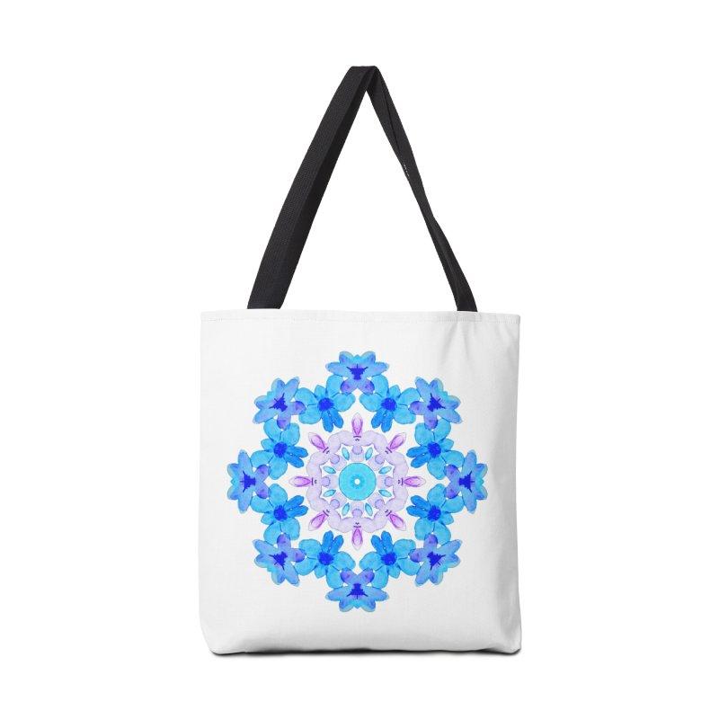 Flower Mandala Violet Blue Watercolor Floral Art Accessories Tote Bag Bag by Boriana's Artist Shop