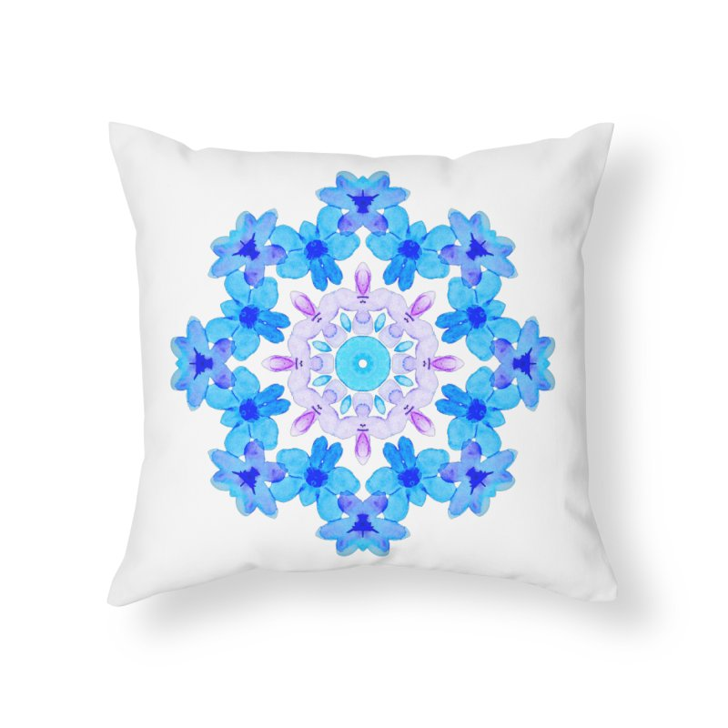 Flower Mandala Violet Blue Watercolor Floral Art Home Throw Pillow by Boriana's Artist Shop