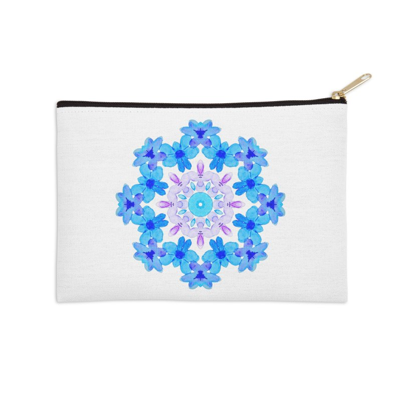 Flower Mandala Violet Blue Watercolor Floral Art Accessories Zip Pouch by Boriana's Artist Shop