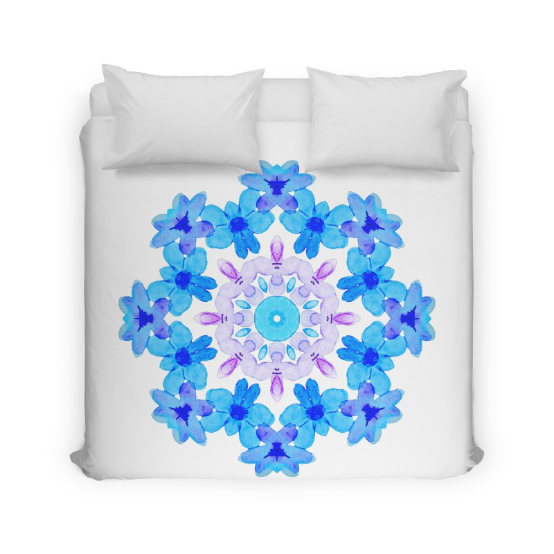 Flower Mandala Violet Blue Watercolor Floral Art Home Duvet by Boriana's Artist Shop
