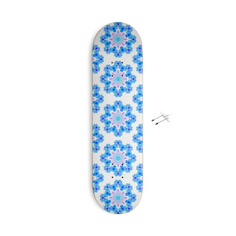 Flower Mandala Violet Blue Watercolor Floral Art Accessories With Hanging Hardware Skateboard by Boriana's Artist Shop