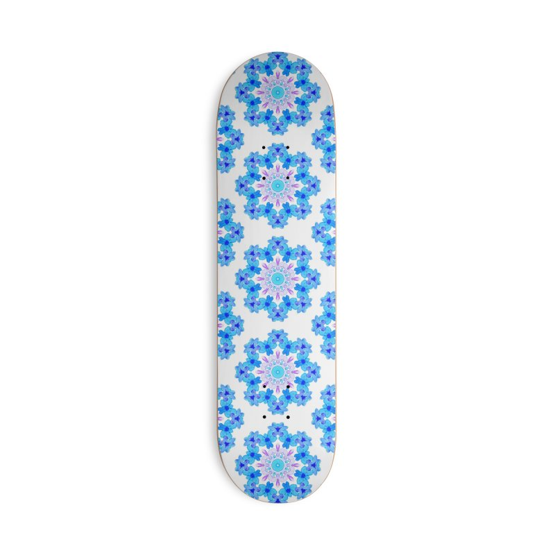 Flower Mandala Violet Blue Watercolor Floral Art Accessories Deck Only Skateboard by Boriana's Artist Shop