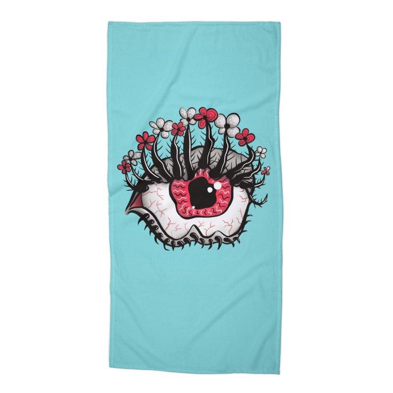Weird Eye Melt Creepy Psycho Psychedelic Art Accessories Beach Towel by Boriana's Artist Shop