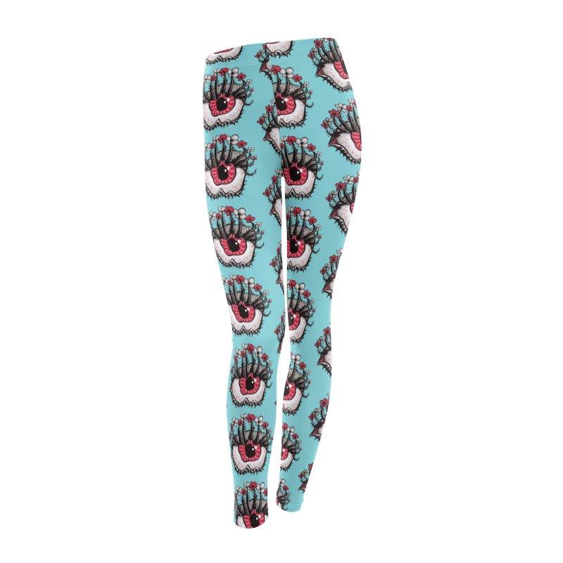 Weird Eye Melt Creepy Psycho Psychedelic Art Women's Leggings Bottoms by Boriana's Artist Shop