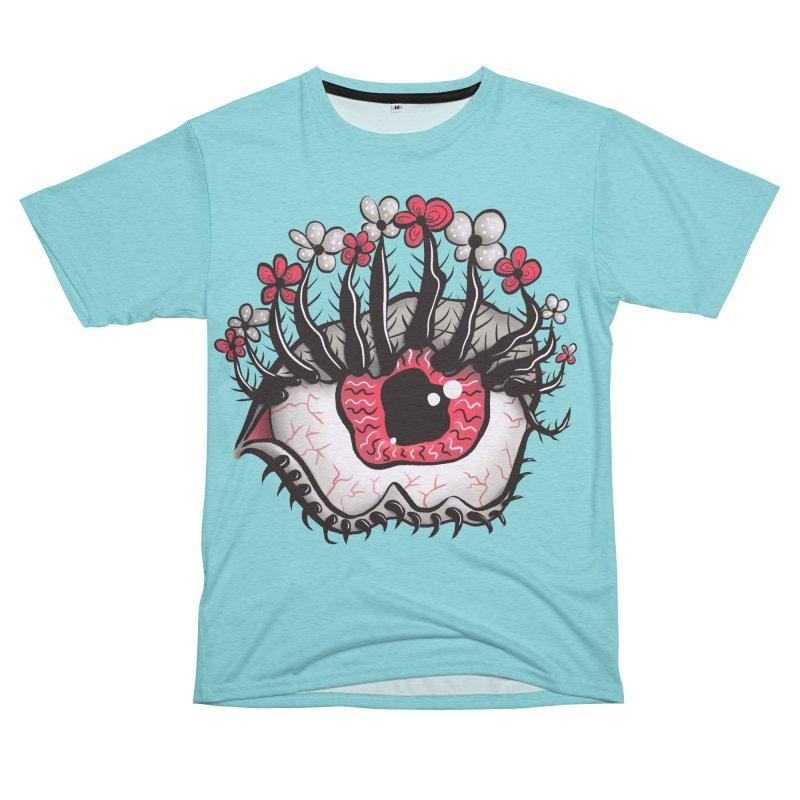Weird Eye Melt Creepy Psycho Psychedelic Art Men's French Terry T-Shirt Cut & Sew by Boriana's Artist Shop