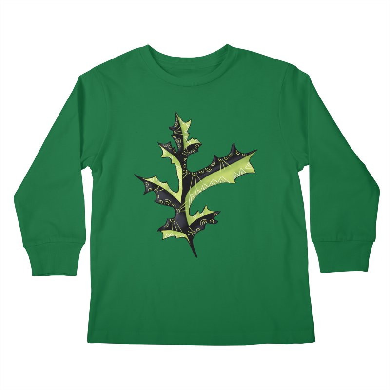 Tattooed Oak Leaf Kids Longsleeve T-Shirt by Boriana's Artist Shop