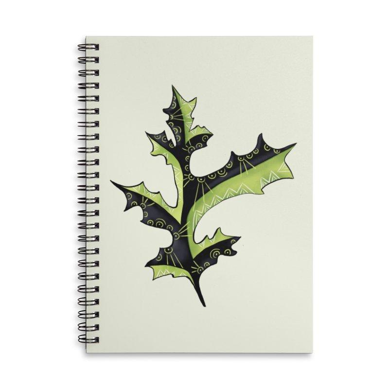 Tattooed Oak Leaf Accessories Lined Spiral Notebook by Boriana's Artist Shop