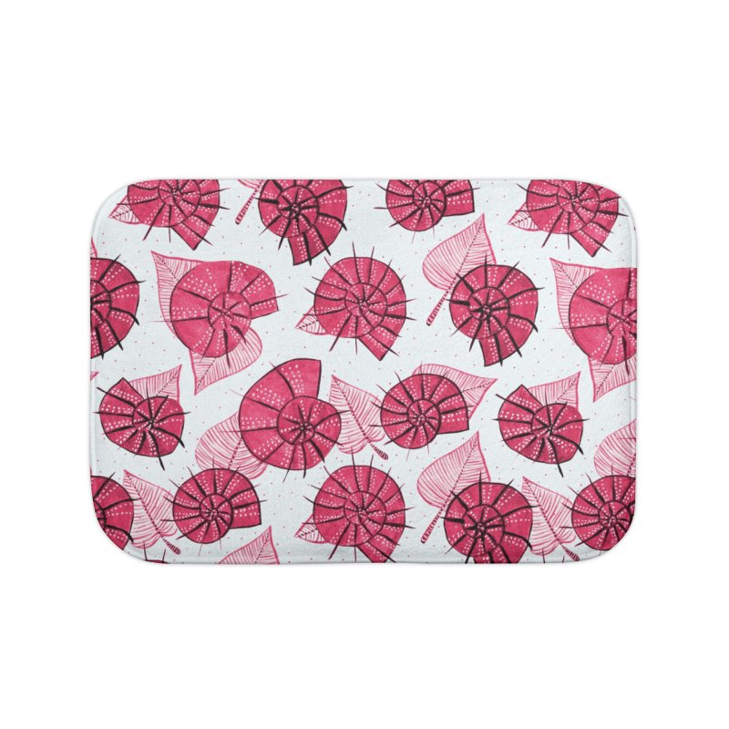 Pink Snails And Leaves Ink Drawing Home Bath Mat by Boriana's Artist Shop