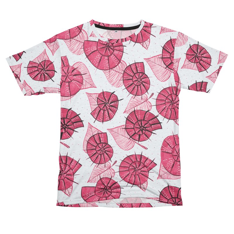 Pink Snails And Leaves Ink Drawing Women's Unisex French Terry T-Shirt Cut & Sew by Boriana's Artist Shop