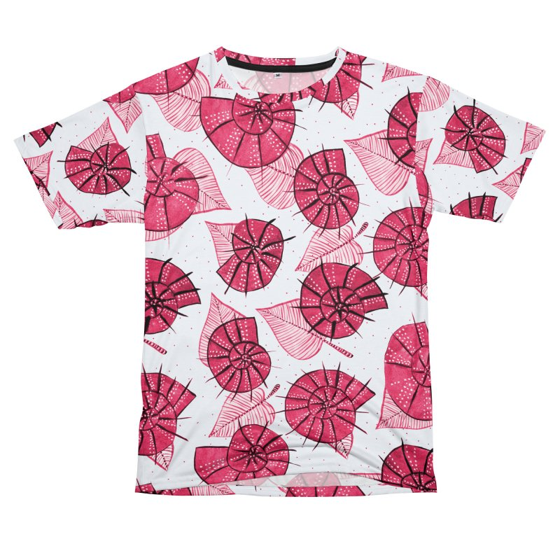 Pink Snails And Leaves Ink Drawing Women's Unisex T-Shirt Cut & Sew by Boriana's Artist Shop
