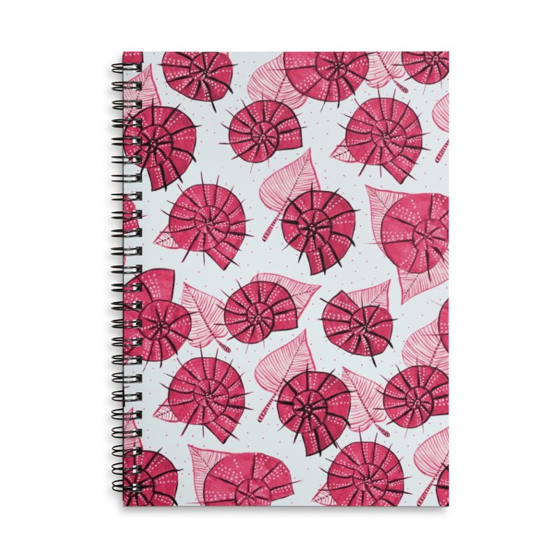 Pink Snails And Leaves Ink Drawing Accessories Lined Spiral Notebook by Boriana's Artist Shop
