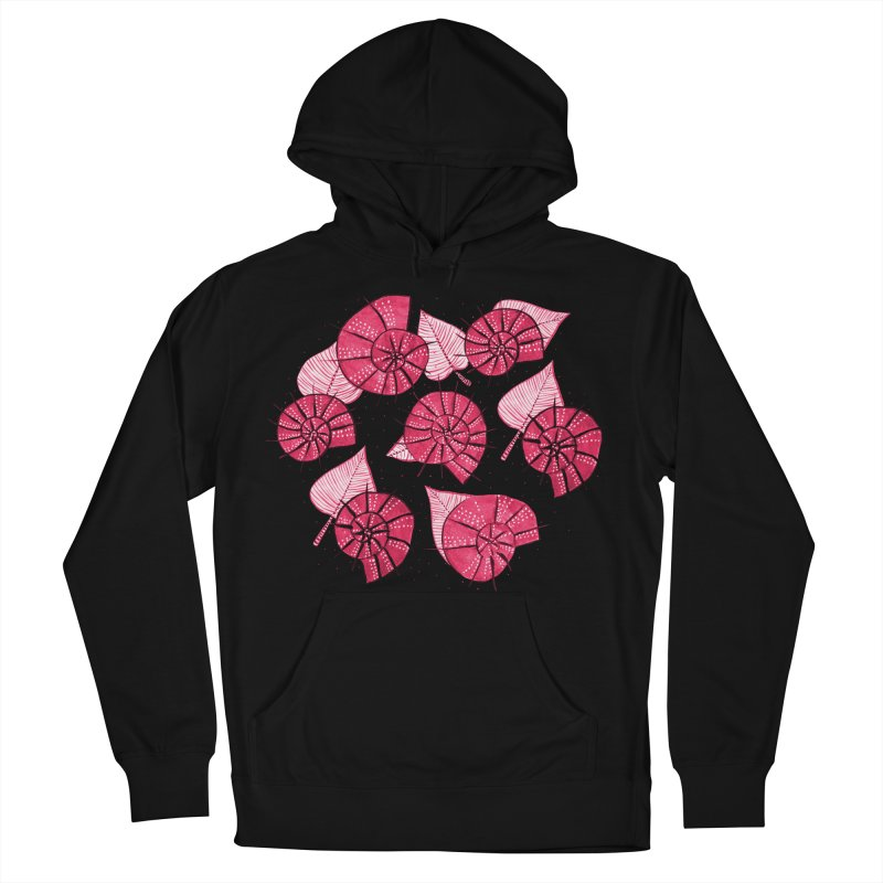 Pink Snails And Leaves Ink Drawing Women's French Terry Pullover Hoody by Boriana's Artist Shop