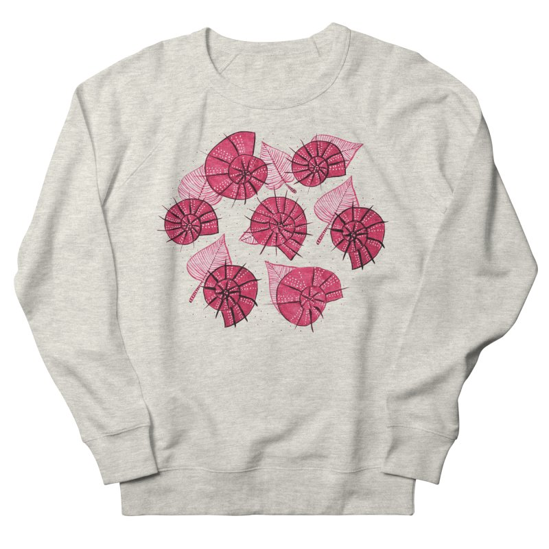Pink Snails And Leaves Ink Drawing Women's French Terry Sweatshirt by Boriana's Artist Shop
