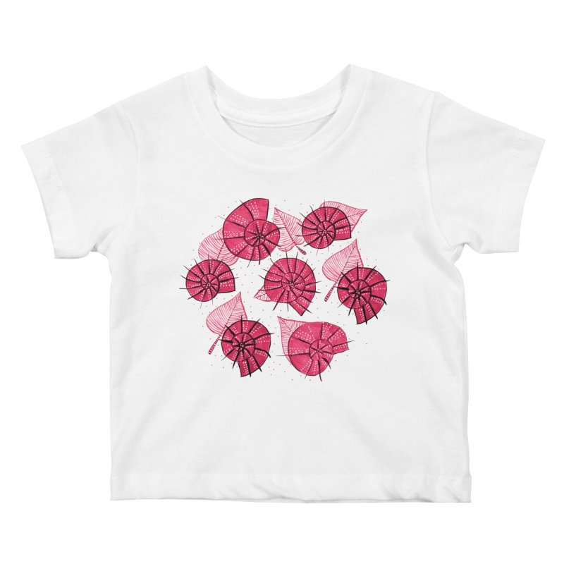 Pink Snails And Leaves Ink Drawing Kids Baby T-Shirt by Boriana's Artist Shop