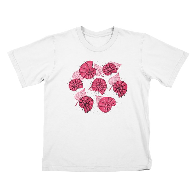 Pink Snails And Leaves Ink Drawing Kids T-Shirt by Boriana's Artist Shop