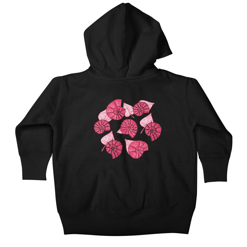 Pink Snails And Leaves Ink Drawing Kids Baby Zip-Up Hoody by Boriana's Artist Shop